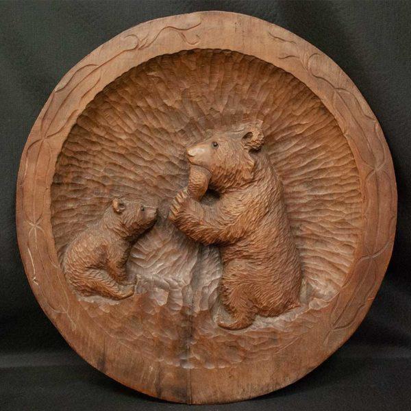 アイヌ 民族 木彫り 熊壁掛け