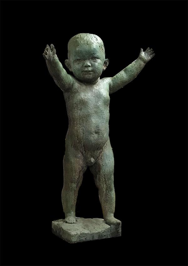 長谷川塊記 ブロンズ像 子供