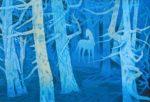 東山魁夷 「白馬の森」 (1988) 木版画 限定 クローズアップ