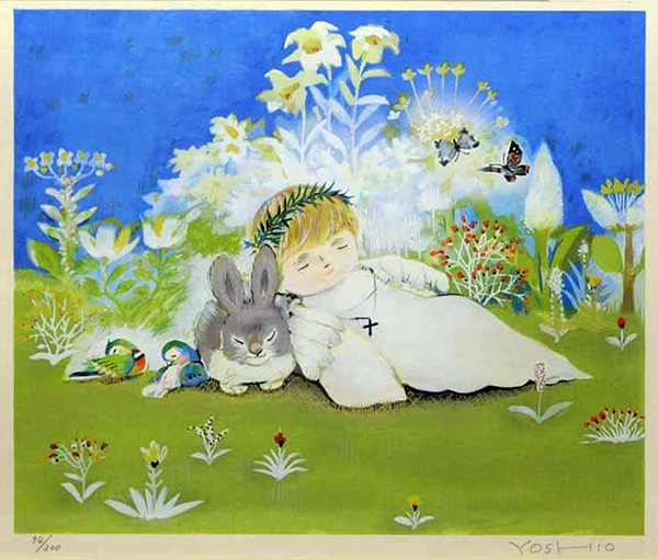 林義雄『天使のおひるね』(1996) 京版画 足立美術館