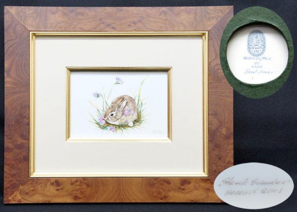 ヘレンド 手描き陶板画 タイルタブロー 野うさぎ 2001年作品