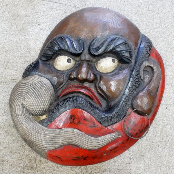 達磨の顔面一枚板木彫り